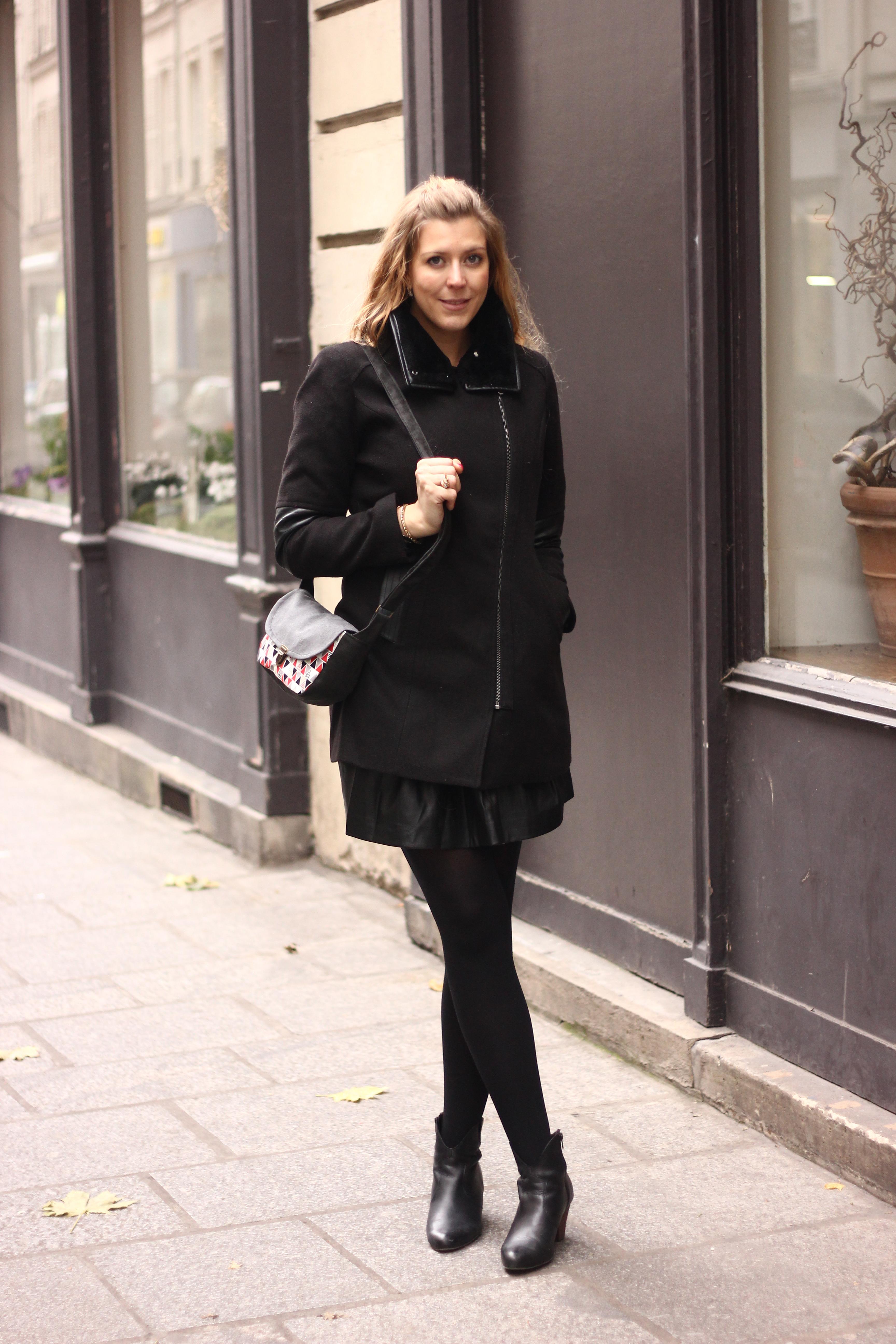 Manteau bimatière, derhy, pull cachemire,X damart, jupe patineuse, jupe simili cuir, jupe à coeur, bottines cuir pas cher, sac sur mesure, sac personnalisable, bijoux primark, primark paris