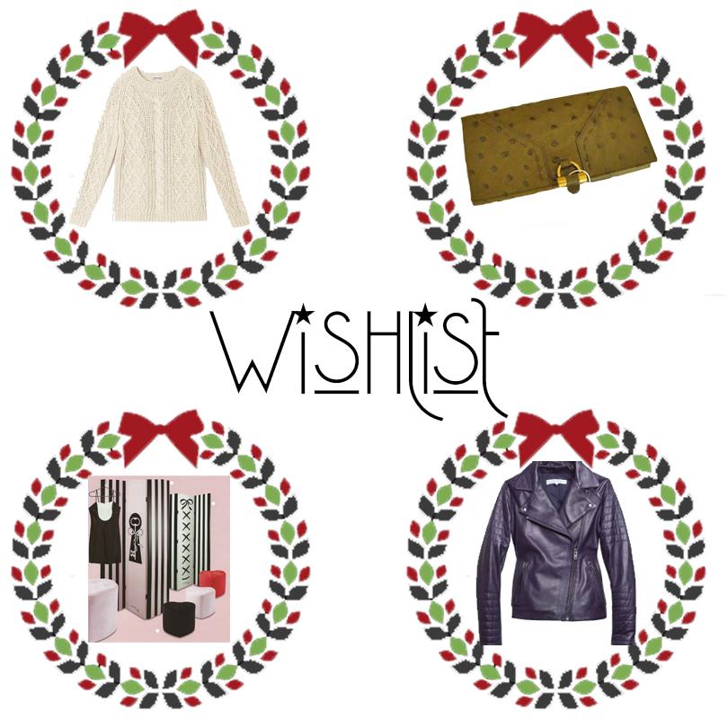 wishlist 2014, Idées cadeaux, idées cadeau, cadeau noel femme, liste au père noel, perfecto cuir bleu, chantal thomass tati, marilyn monroe, pull marilyn, marilyn darel, ysl, yves saint laurent, portfeuille, autruche