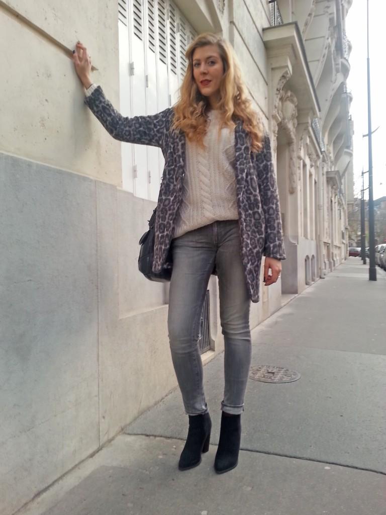 pull maille irlandaise, pull marilyn, gérard darel, manteau léopard, léopard gris, new look, jean slim gris, ralph lauren, denim & supply, boots talons strass, look du jour, ootd, style d'un jour