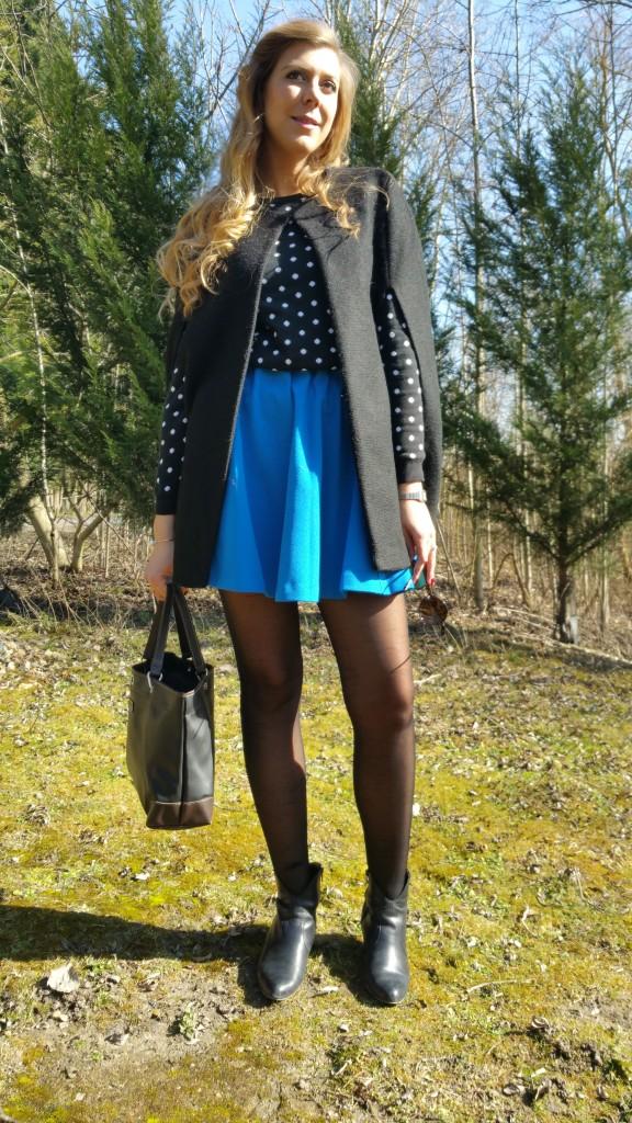 Blog mode,  Pull à pois,  jupe corolle,  jupe bleue,  Cape,  NewLook,  Damart,H&M,  Gémo,  Longchamps, Soleil, Printemps,  look été,  tendance pe 2015