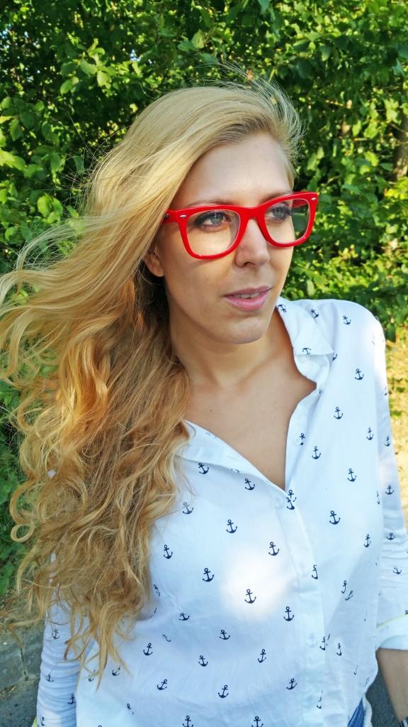 chemise encre, chemise marin, balsamik, lunettes de repos, lunettes ordinateur, lunettes sans correction, Varionet, etam, ceinture corde marin, corde marin, sandales rouge, sandale cuir pas cher, jean tommy hilfiger, look, ootd, tenue du jour, tenue bureau, look casual, blog mode, blogueuse mode