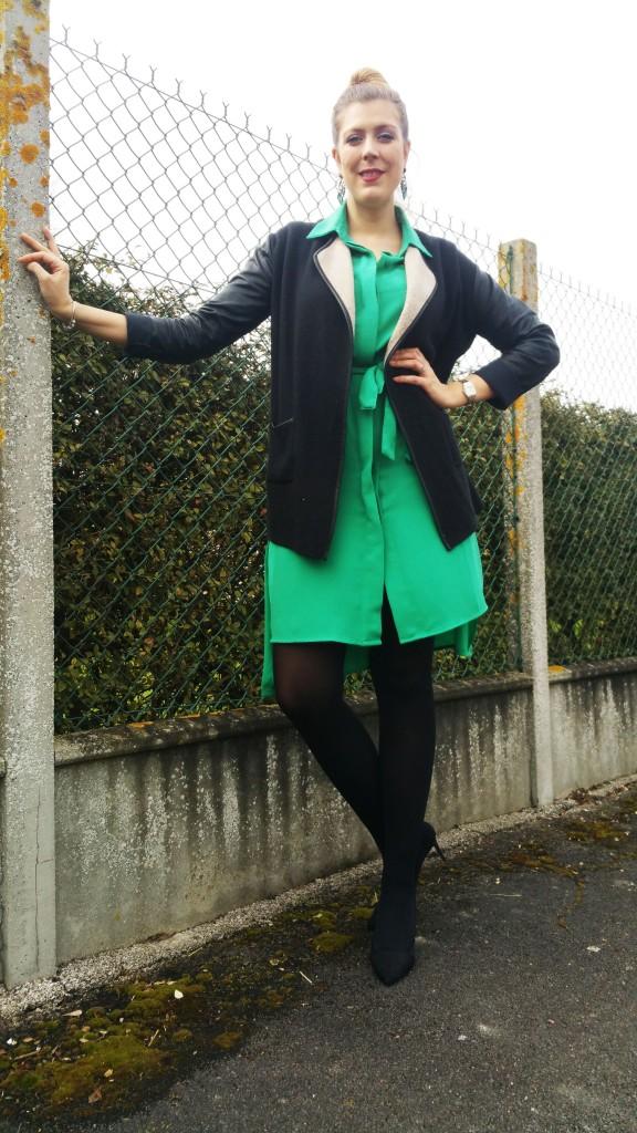 look tendance, ootd, ootn, tenue du jour, look femme, robe chemise, vert emeraude, gilet bimatière, escarpins bimatière, babou, derhy, zara, boucles d'oreilles bijoux, tendance, revue, review, haul, blog mode, blogueuse mode,