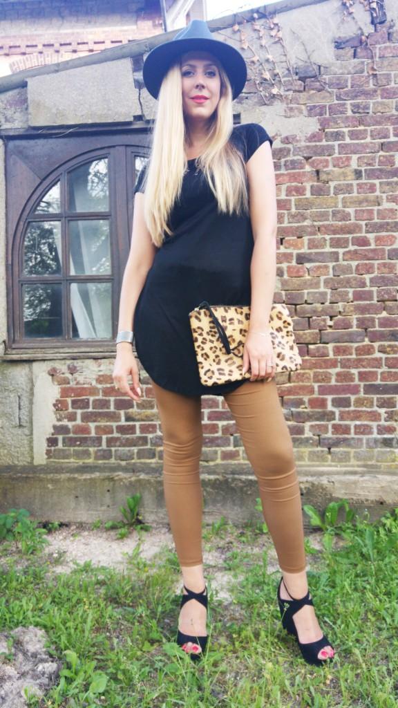 babou, stradivarius, boohoo, soldes, look soldes, look été, look rentrée, tenue rentrée, ootd, tenue du jour, look fashion, chapeau, panama, sandales compensées, léopard, blog mode, blogueuse mode, look wild, look sauvage, camel et noir