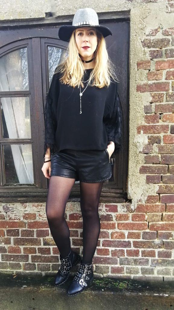 look, ootd, tenue du jour, blog mode, fedora, top soirée, short en cuir, choker, boots balmain, boots givenchy, blog mode