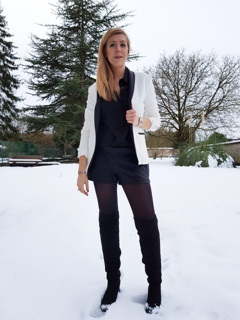 look ootd short cuir veste smocking femme blazer blanc femme cuissardes suedine chemise dos détail look femme look du jour style d'un jour tenue soirée look chic comment porter un short en cuir blog mode blogueuse mode