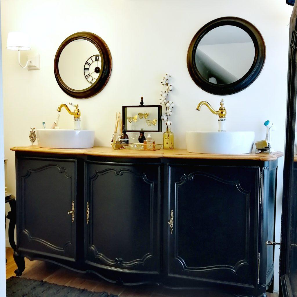 diy meuble, customisation meuble, buffet patiné, refection buffet, meuble chiné, meuble vintage customisé, rustoleum, buffet louis, meuble salle de bain original, shabby chic, salle de bain shabby, blog déco, blogueuse décoration