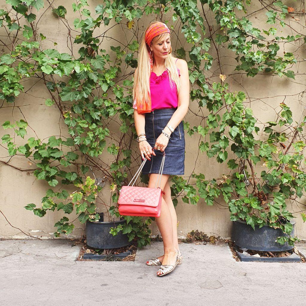 guess, wild pony, zapa, tempka, aeroville, pylones, look du jour, ootd, outfit, look rose, look été, blog mode, blogueuse mode, boho outfit, look gypset, gipsy, boheme look, porter un foulard dans les cheveux, paris fashion